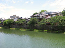 Old Kyoto street next to a river Royalty Free Stock Image