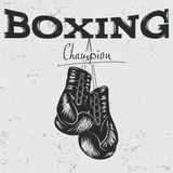 Old label with boxing gloves Stock Photo
