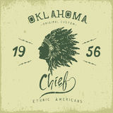 Old label with indian cheif head in profile Stock Image