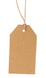 The old label on a rope isolated on a white background Royalty Free Stock Image