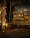 Old laboratory. Fantasy laboratory with books and candles Stock Images