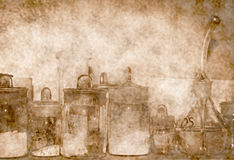 Old laboratory. Old chemical glassware in the laboratory Royalty Free Stock Image
