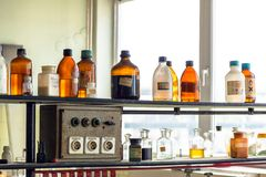 Old laboratory with a lot of bottles Royalty Free Stock Image