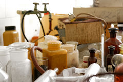 Old laboratory with a lot of bottles Stock Photo