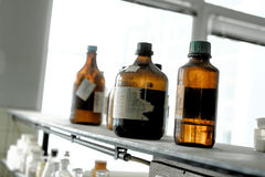 Old laboratory with a lot of bottles Royalty Free Stock Images