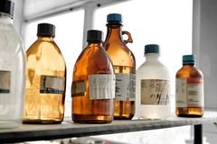 Old laboratory with a lot of bottles Stock Images