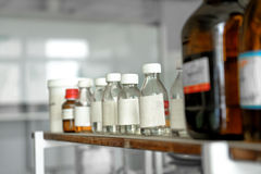Old laboratory with a lot of bottles Stock Image