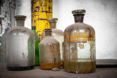 Old laboratory with a lot of bottles Royalty Free Stock Photo