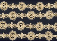 Old lace border background. Four rows of a beautiful lace border stock photo