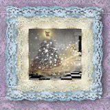 Old lace picture, Christmas card Stock Image