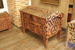 Old lacquered chest with lock, slightly damaged.  with clipping path Stock Image