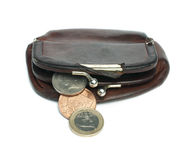 Old ladies brown leather purse Royalty Free Stock Photos