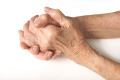 Old Ladies hands clasped. My mother at 90 years old with arthritic hand Royalty Free Stock Photography