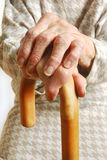 Old Ladies hands with walking stick Royalty Free Stock Photo