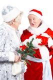 Old Ladies- Snow Maiden and Santa Royalty Free Stock Image