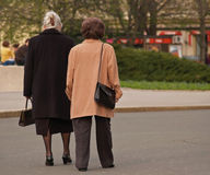 Old Ladies Walking. Two old fashioned ladies walking in centre of Zagreb, Croatia Stock Photos