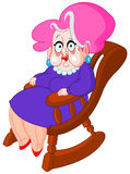 Old lady. Sitting on a rocking chair Stock Image