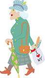Old lady. With umbrella and bag  with baguette, newspaper and flowers Royalty Free Stock Image