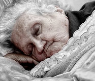 Old lady. Old senior woman sleeping. Life / death concept. Age late eighties stock photos