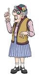 Old lady. Old cartoon lady making a point Royalty Free Stock Images