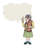 Old lady. Cartoon old lady making a point, with speech bubble Royalty Free Stock Photos