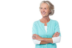 Old lady in casual wear looking away Stock Photo