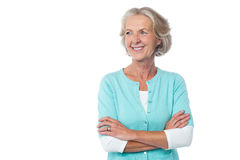 Old lady in casual wear looking away Royalty Free Stock Photography
