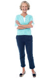 Old lady in casual wear posing confidently Royalty Free Stock Photos