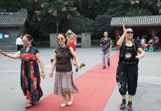 Old lady catwalk event in Chengdu Stock Photos