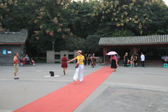 Old lady catwalk event in Chengdu Royalty Free Stock Photo