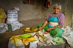 An old lady of Chhaimale village, 29km south of Kathmandu, Nepal. Stock Photography