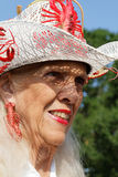 Old lady and Crawfish hat Royalty Free Stock Image