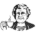 Old lady with cup.Sketch Royalty Free Stock Images
