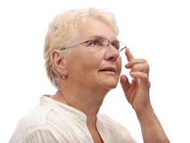 Old lady curiosity Stock Images