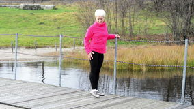 An old lady exercising. stock footage