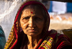 The old lady. The face of an old Indian lady Stock Photos