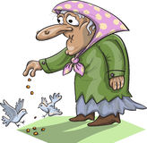 Old lady feeding pigeons royalty free illustration