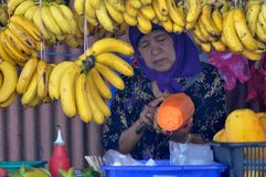 An old lady fruit stall seller is surrounded by bananas and papayas. An attraction at top tourist location of Little India in the city of George Town, Malaysia Stock Images