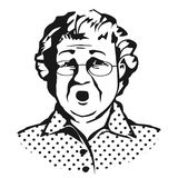 Old lady with glasses.Sketch Stock Image