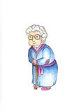 Old lady in glasses with stick by watercolors. Lovely old woman clipart. Nice senior woman  on white background. Aged person in cartoon style. Sweet granny Stock Photos
