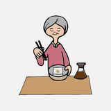 Old lady have meal alone Royalty Free Stock Images