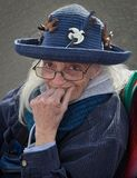 Old Lady In Vintage Hat. Stock Photos