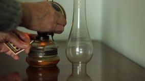 Old Lady Light Petrol Lamp stock video