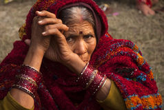 The old lady looking at the camera Royalty Free Stock Photography