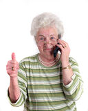 A old lady with mobile phone Stock Images
