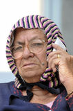 Old lady on phone Royalty Free Stock Images