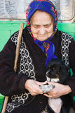 The old lady with a puppy. Stock Image