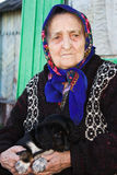 The old lady with a puppy. Stock Images
