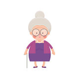 Old Lady In Purple Dress with Walking Stick Stock Image