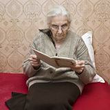 Old lady reading book Royalty Free Stock Photos